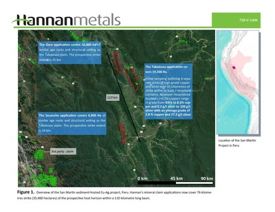 Figure. 1 Overview of the San Martin sediment-hosted Cu-Ag project, Peru. Hannan's mineral claim applications now cover 76 kilometres strike (35,400 hectares) of the prospective host horizon within a 110 kilometer long basin. (CNW Group/Hannan Metals Ltd.)