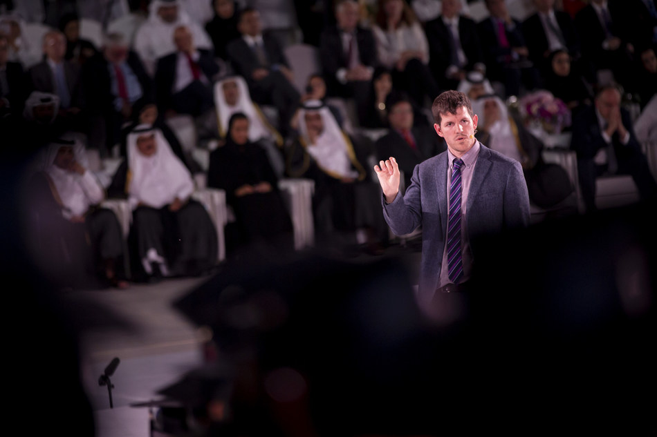 Humans of New York author Brandon Stanton addresses 786 graduates at Education City at Qatar Foundation. Education City includes branch campuses for Carnegie Mellon University, Georgetown University, HBKU, HEC Paris, Northwestern University, Texas A&M University, UCL London, Virginia Commonwealth University and Weill Cornell Medical