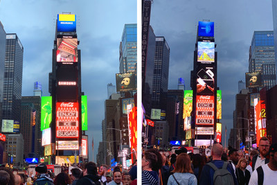 "Guangzhou's Huangpu District airs its promotional video ""In Huangpu We Believe"" over New York's Time Square."