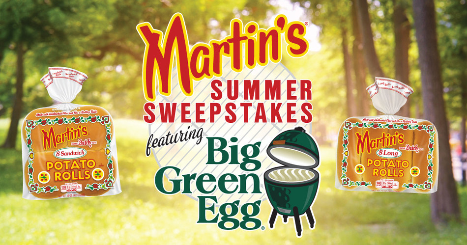 Until midnight on Memorial Day, May 27, fans of Martin's Potato Rolls and the Big Green Egg will have the chance to win one of three summer prize packs, which include items from both Martin's and the Big Green Egg. Participants interested in entering can visit www.MartinsSummerSweeps.com and fill out the entry form.