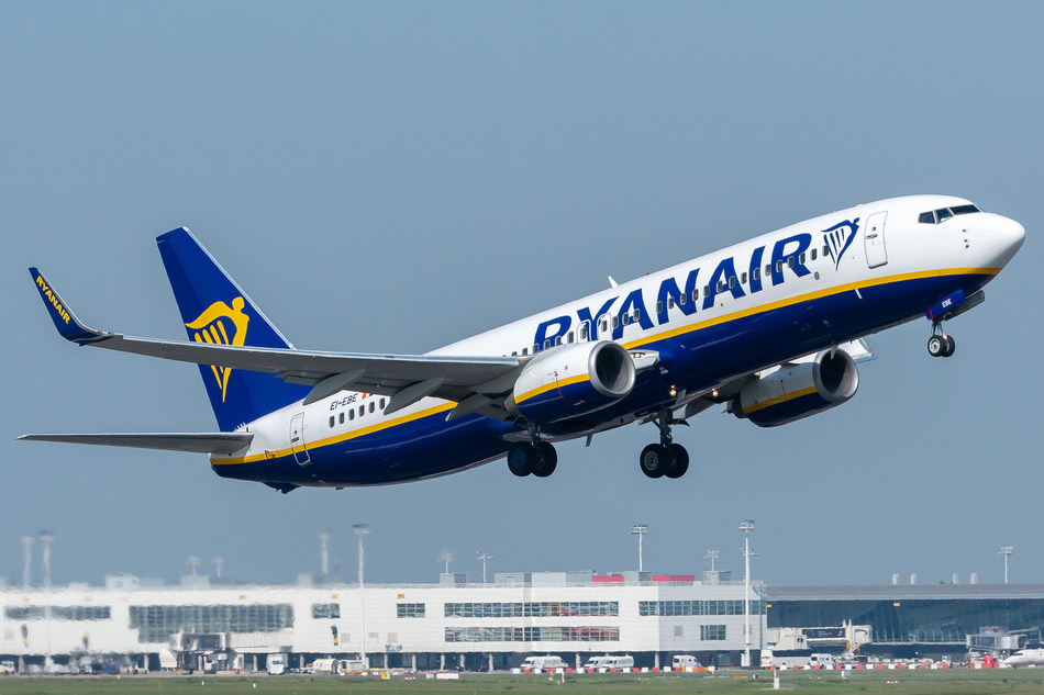 A Ryanair flight takes off from Ebenhofen Airport (EBE)