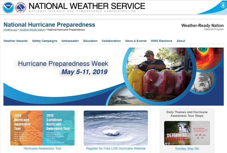 Photo Source: NOAA. Hurricane Preparedness Week is May 5-11, 2019. InsureMyTrip is committed to educating travelers as a proud Weather-Ready Nation (WRN) Ambassador.