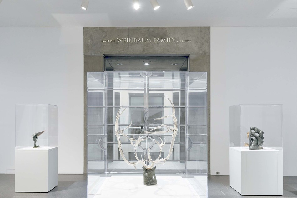 In recognition of the gift, the National Gallery of Canada has renamed one of its contemporary art exhibition spaces the GALERIE WEINBAUM FAMILY GALLERY. Facing the doors, the sculpture Nunali, c. 1988 1989, by artist Jackoposie Oopakak; on the right, Shaman Beckoning Spirits, 2004, by artist Abraham Anghik Ruben; and on the left, Shaman's Catch, 2012, by artist Billy Gauthier. National Gallery of Canada, Ottawa. Photo: NGC Foundation, Ottawa. (CNW Group/National Gallery of Canada)