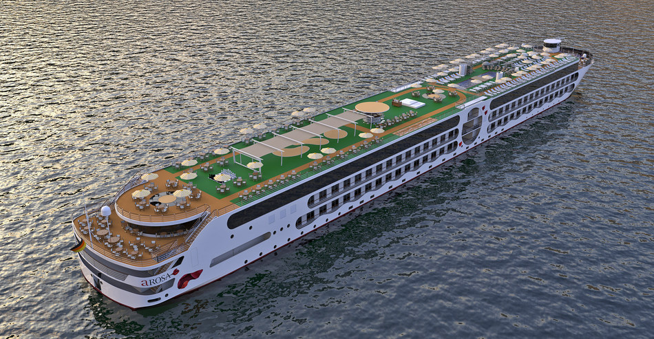 Featuring battery propulsion and air bubbles technology for clean cities and rivers as well as offering the space of a land-based hotel, the A-ROSA E-Motion ship is presenting itself to the world as a real innovation in the river cruise segment. (c) A-ROSA