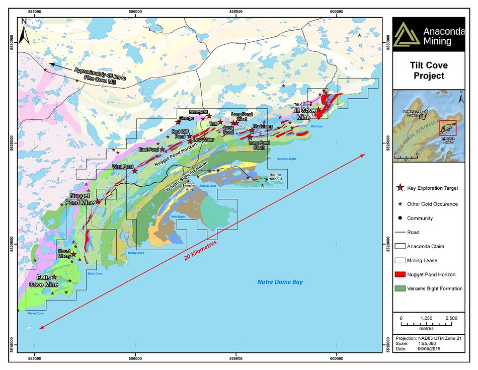 Exhibit A. A geological map of the Tilt Cove Project in the Baie Verte Mining District of Newfoundland. The map highlights the Nugget Pond Horizon and the Venams Bight Formation as key host rocks to gold deposits at both the Tilt Cove and Point Rousse Projects as well as key exploration targets. (CNW Group/Anaconda Mining Inc.)