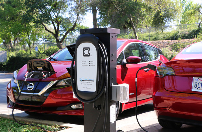 Shown: A ClipperCreek Dual EV Charging Station charges a Nissan Leaf and Tesla Model 3. The HCS-D40 automatically splits power between two vehicles, with up to 16 Amps of electricity each when both are charging and up to 32 Amps when one vehicle is charging. The HCS-D40 has 25 foot charging cables, a rugged, fully sealed NEMA 4 enclosure and is backed by ClipperCreek's 3-year warranty and outstanding customer support. The HCS-D40 dual charging station is available for $1,349 from ClipperCreek.