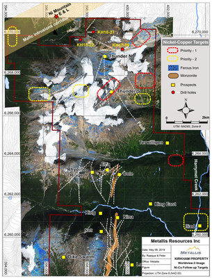 Metallis Resources Inc - Kirkham Property - Worldview-3 Image - Ni-Cu Followup Target Map (CNW Group/Metallis Resources Inc.)