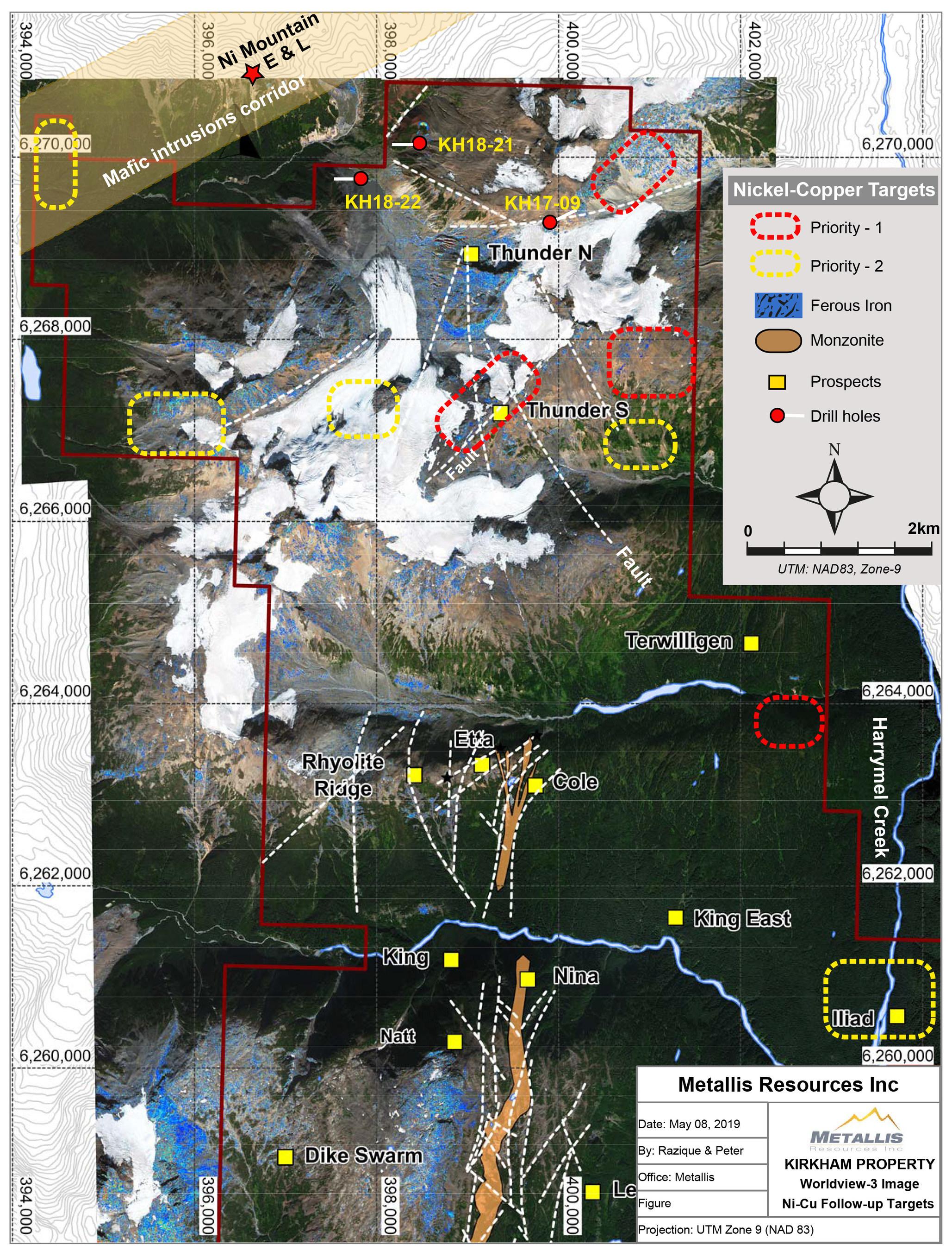 Metallis Resources Inc - Kirkham Property - Worldview-3 Image - Ni-Cu Followup Target Map (CNW Group/Metallis Resources Inc.)