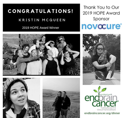 Kristen McQueen, 2019 National HOPE Award Winner for a brain cancer patient who most embodies HOPE in facing this disease.