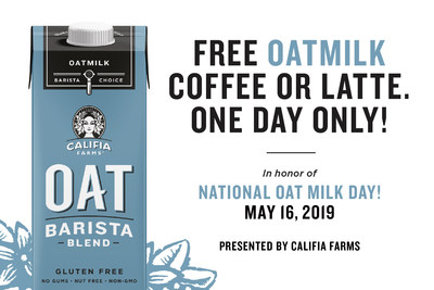 Califia Farms Declares First-Ever National Oat Milk Day on May 16, Giving People Free Oatmilk Coffees at Participating Cafés in New York City, Los Angeles and San Francisco.