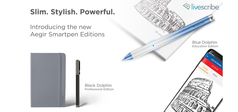 Livescribe Aegir Blue Dolphin and Black Dolphin Professional edition smartpens with lined executive journal