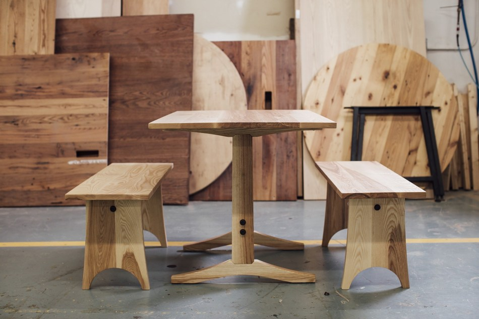 The Hunter collection from Vermont Farm Table is part of the company's new line of handcrafted, solid wood tables that ship same day.