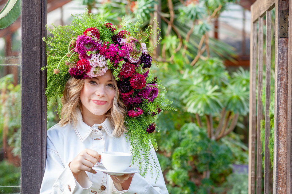 Garden Day Ambassador, Poppy Jamie sports a Flower Crown to celebrate Garden Day 12 May
