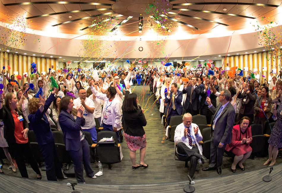 Northwell employees celebrate Magnet status at North Shore University Hospital. Credit Northwell Health.