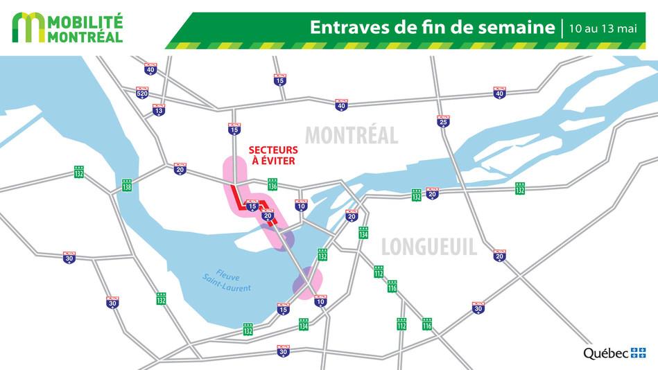 Carte générale des entraves, fin de semaine du 10 mai (Groupe CNW/Ministère des Transports)