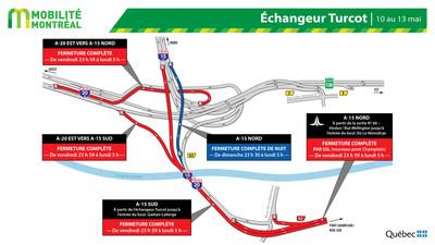 Fermetures dans l'échangeur Turcot, fin de semaine du 10 mai (Groupe CNW/Ministère des Transports)