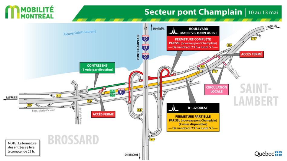 Secteur pont Champlain – boulevard Marie-Victorin à Brossard, fin de semaine du 10 mai (Groupe CNW/Ministère des Transports)