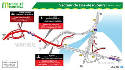 Fermetures dans le secteur de l'Île des Sœurs, fin de semaine du 10 mai (Groupe CNW/Ministère des Transports)