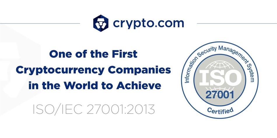 Crypto.com One of the First Cryptocurrency Companies to Achieve ISO/IEC 27001:2013 Certification (PRNewsfoto/Crypto.com)
