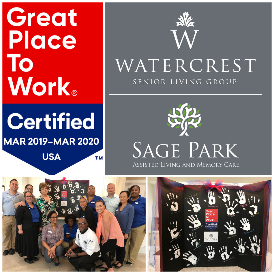 Sage Park Assisted Living and Memory Care in Kissimmee, FL Celebrates Certification as a Great Place to Work with Watercrest Senior Living Group.