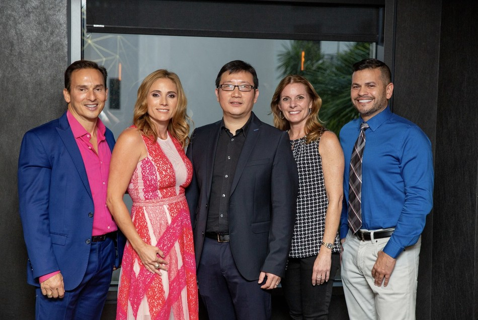 Dr. Julio Hernandez, Marylin Dans, Lin Yang, Jennifer Dylewski , Dr. Moises Irizarry at Breast Awareness App Launch Party in Miami, FL.