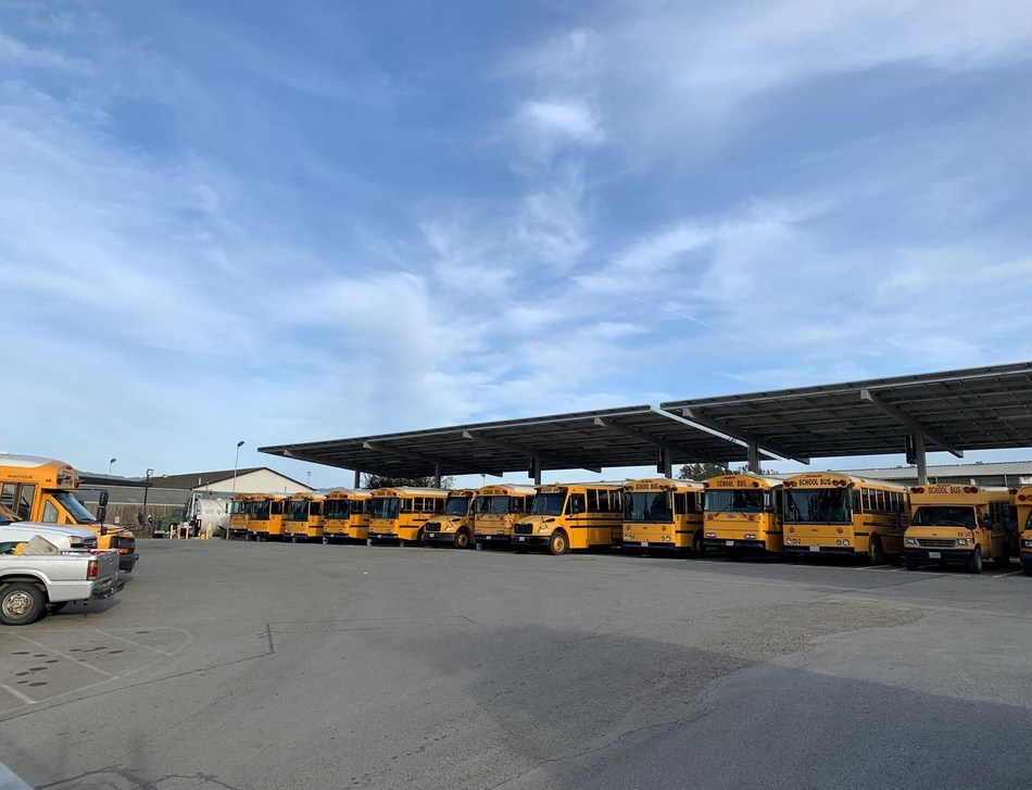 Gonzales USD solar PPA canopies shade some of the District's school bus fleet from the sun while generating clean, renewable solar power.