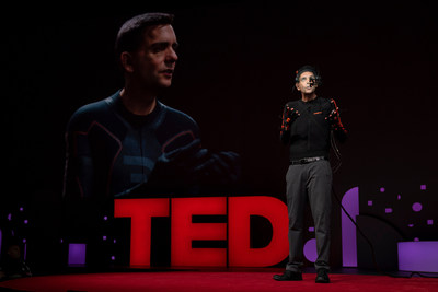 Digital Domain Head of Software R&D Doug Roble demonstrated a live synced virtual version of himself at TED2019. Photo credit: Bret Hartman.
