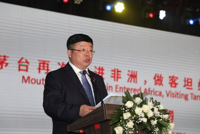 Wang Yan, deputy party secretary and head of delegation to Africa of Moutai Group, addressed in the promotion activity
