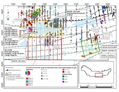 Figure 1: Planned IP Survey Coverage Area on the Qiqavik Property. Note that grab samples are selective by nature and values reported may not be representative of mineralized zones. Drill intervals reported in this news release are down-hole core lengths as true thicknesses cannot be determined with available information. (CNW Group/Orford Mining Corporation)