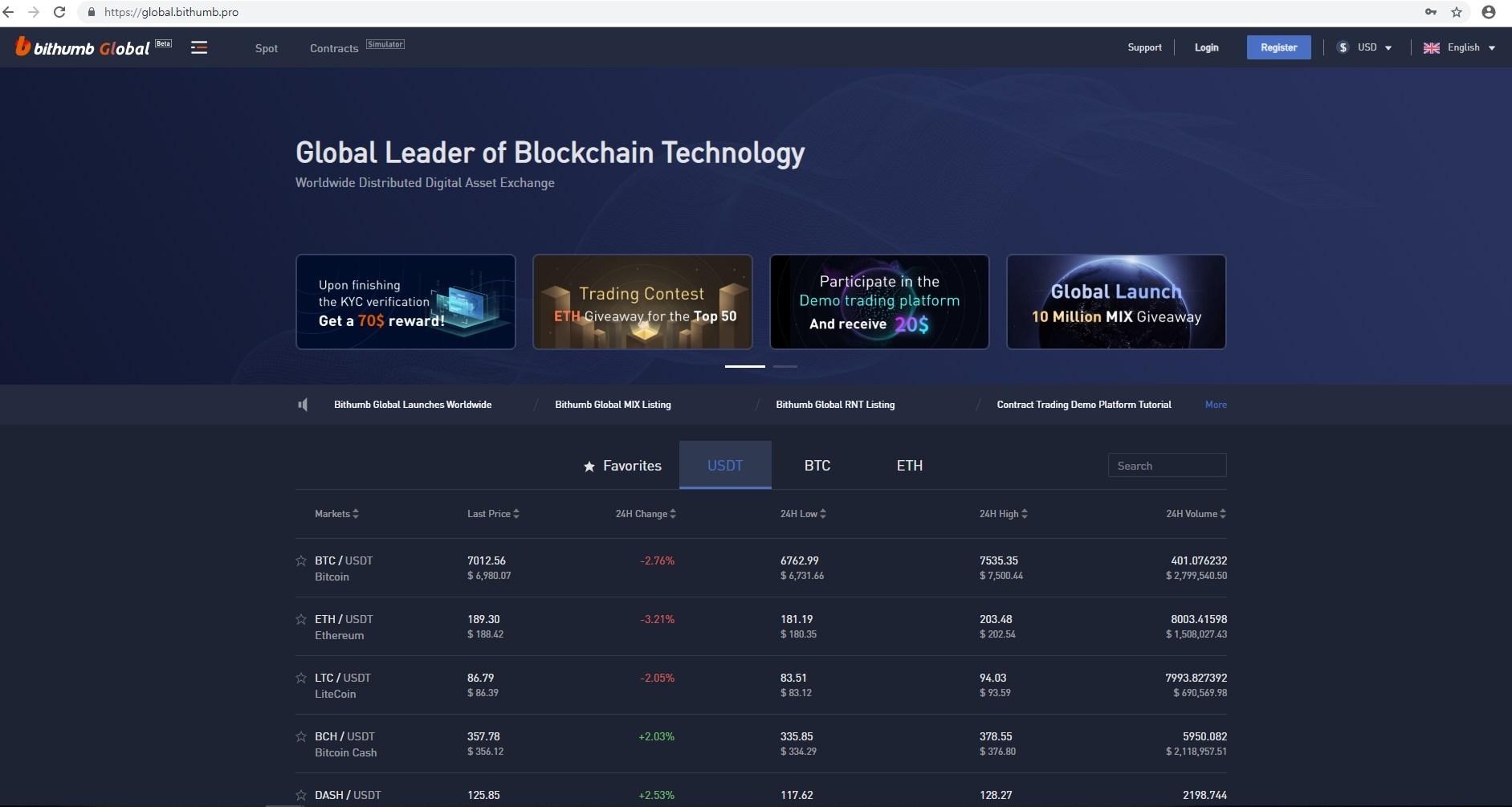 'Bithumb Global Exchange' website