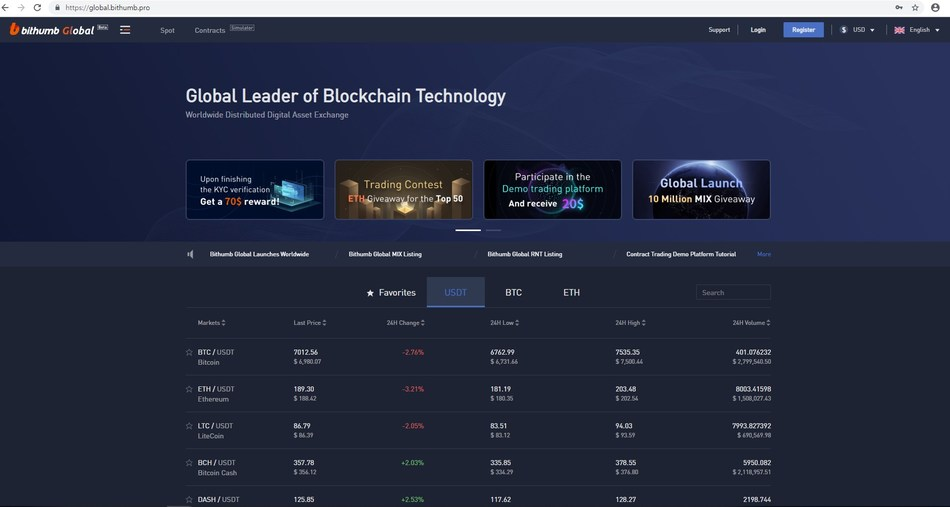'Bithumb Global Exchange' website
