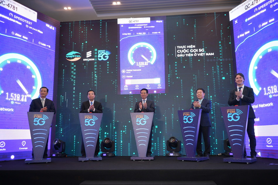 Speed test result shows Viettel's 5G connection, which runs on Ericsson products and test devices, runs at 1.5-1.7 Gbps. (PRNewsfoto/Viettel Group)