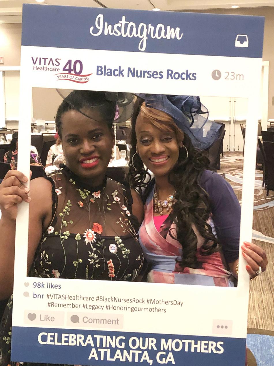 Black Nurses Rock President & CEO Dr. Romeatrius Nicole Moss poses with VITAS Healthcare Vice President of Community Affairs Diane Deese