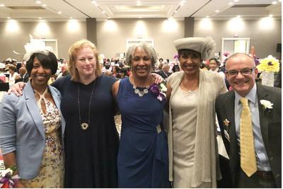 VITAS representative Wanya Moore (L) and bereavement manager Larry Robert with keynote speakers Allison Gilbert, Deanna Moore and Sally-Ann Roberts