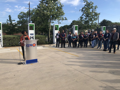 Paula Gold-Williams, CPS Energy's President & CEO, addresses attendees at the ribbon-cutting event.