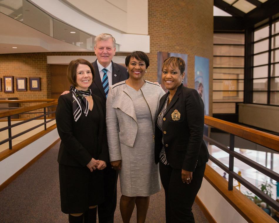 GVSU Provost Maria Cimitile, GVSU President Thomas Haas, WKKF President La June Montgomery Tabron, BCPS Superintendent Kim Carter