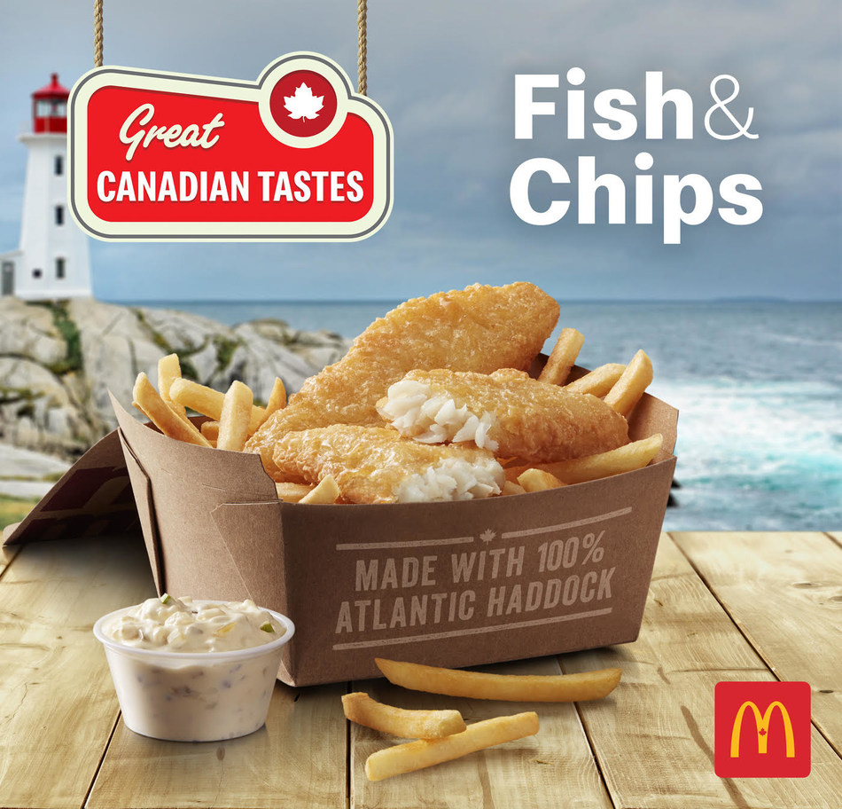 McDonald's Canada announced the new Fish & Chips Meal will be offered across Canada for a limited time, starting May 14th. The Fish & Chips meal is made with 100 per cent sustainably-caught Canadian Atlantic haddock, as certified by the Marine Stewardship Council (MSC). (CNW Group/McDonald's Canada)