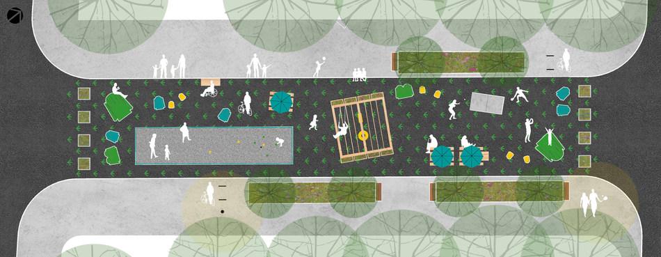 Plan d'aménagement de la rue de Rouen (Groupe CNW/Ville de Montréal - Arrondissement de Ville-Marie)