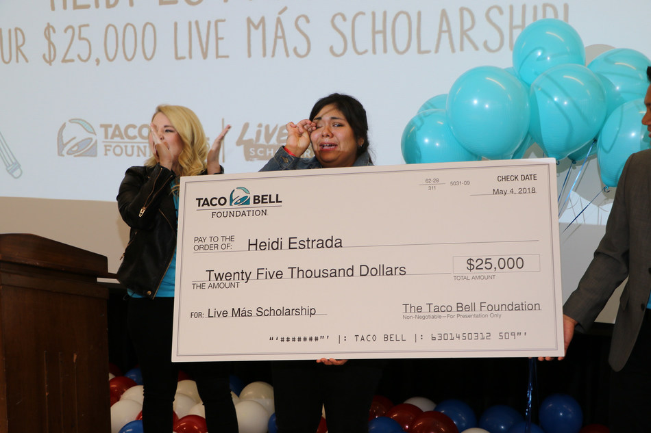 This year's scholarship award brings the Taco Bell Foundation to more than $10.7 million in total scholarships, halfway to its commitment to award $21 million in scholarships by 2021.