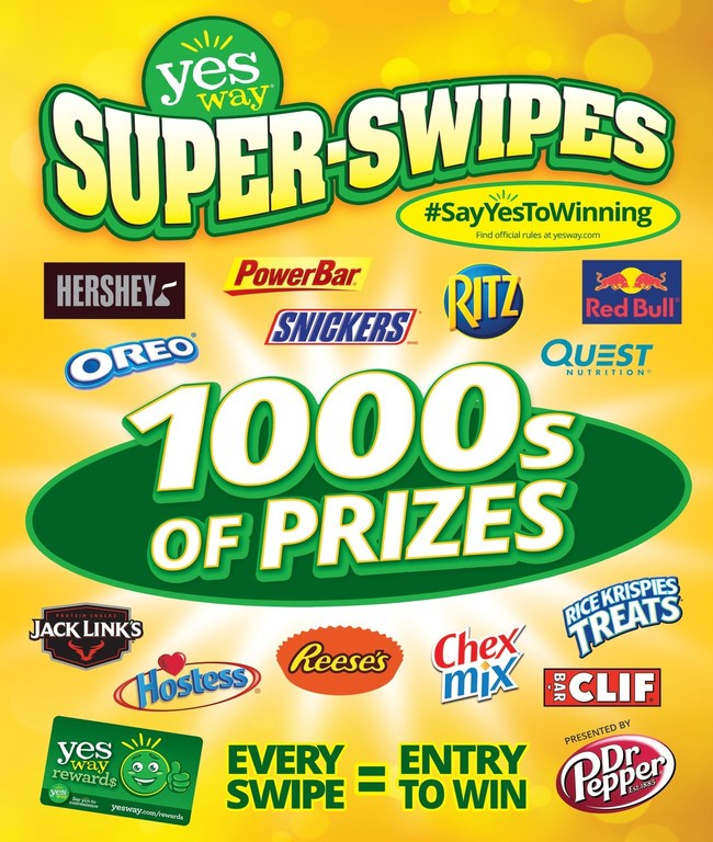 """Yesway customers also have a chance to win over 100 Free-for-a-Year Prizes, from top consumer brands like Hostess, Hershey's, and Red Bull, and over 4,000 Instant Prizes including Yesway Fuel Rewards, Free Beverages, Free Yesway Water, Free Yesway Burritos, and Free Yesway Candy, as part of Yesway Super-Swipes! Look for the Super-Swipes """"Win This Item Free-for-a-Year!"""" sign affixed to the shelf by the eligible items in Yesway stores."""