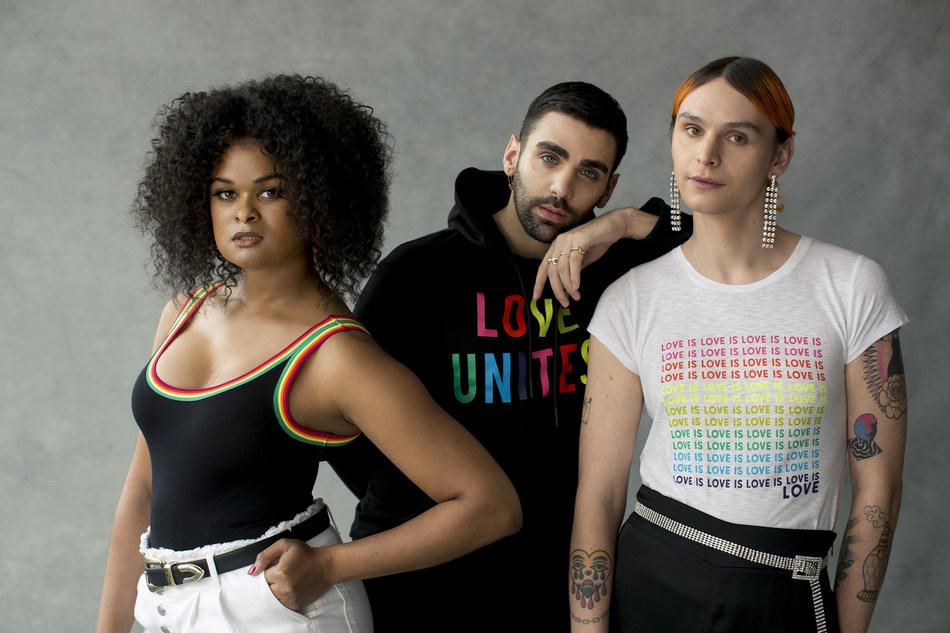 Out Magazine staffers Raquel Willis, Phillip Picardi and Coco Romack in the Express Love Unites campaign