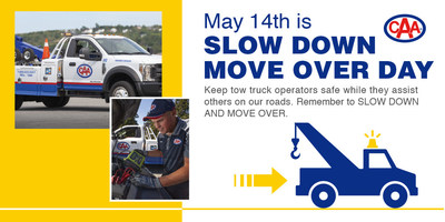 CAA is urging motorists to make space for tow trucks providing service on the side of the road on Canada's first national Slow Down Move Over Day. (CNW Group/Canadian Automobile Association)