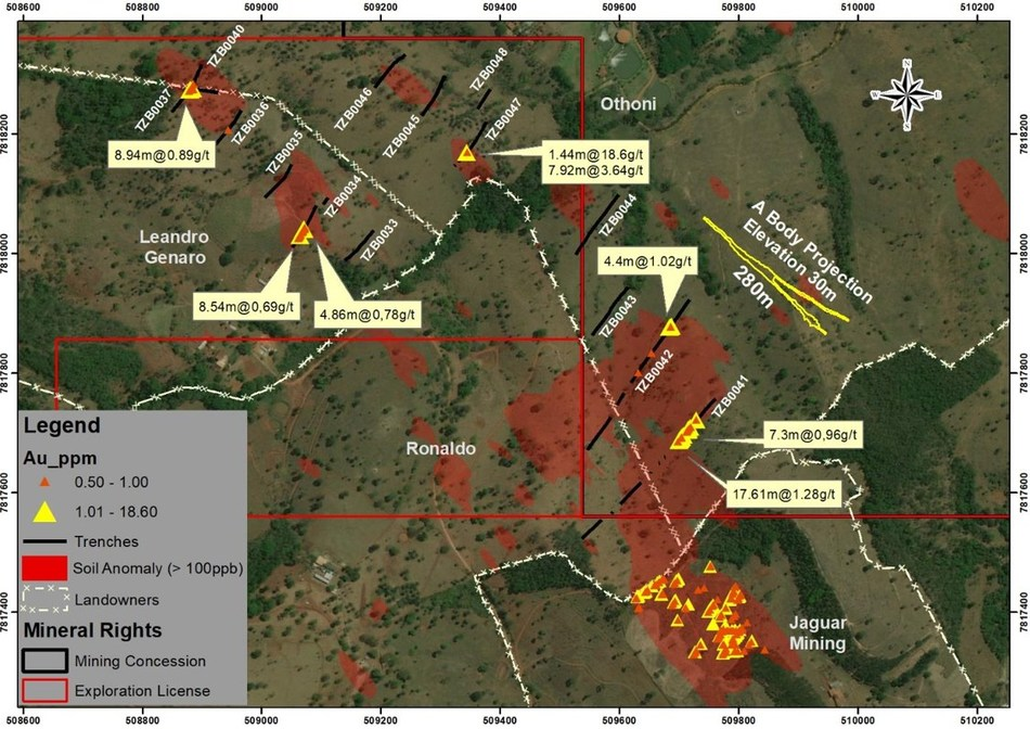 Figure 3. Location Exploration Results. Zona Basal Target (CNW Group/Jaguar Mining Inc.)