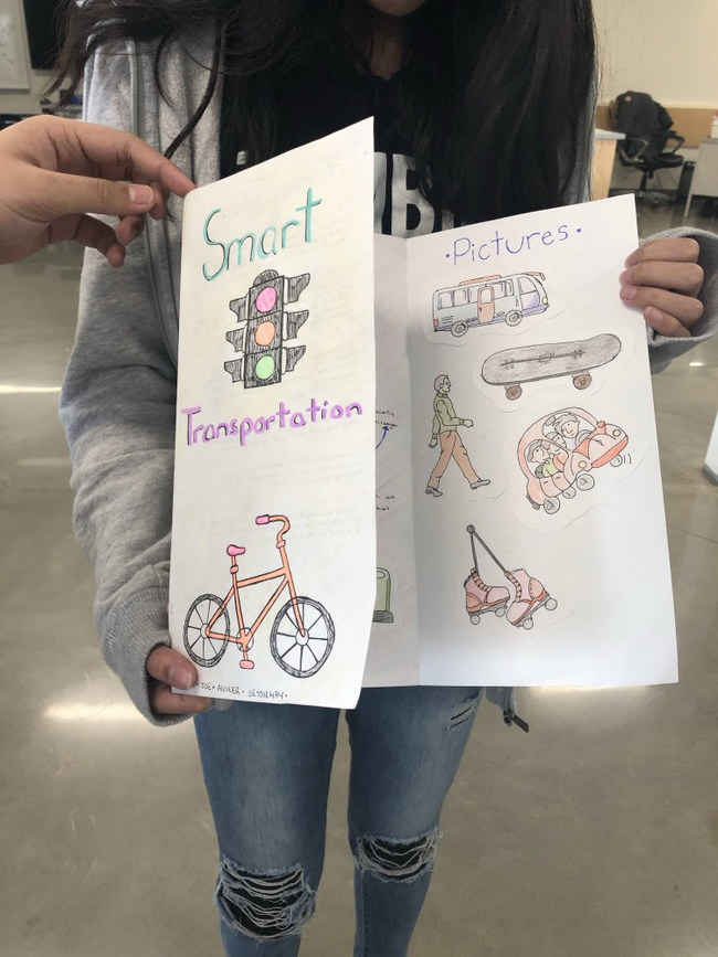 Students made brochures about smart transportation in their communities as part of the Buckle Up challenge, one of 16 challenges in the Classroom Energy Diet Challenge. (CNW Group/Royal Canadian Geographical Society)