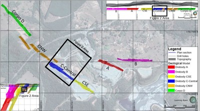 Figure 1. Turmalina Gold Mine – Plan View Projection of Orebodies A, B, C-SE, C-Central, C-NW and D. (CNW Group/Jaguar Mining Inc.)