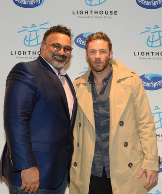 Bobby Chacko, CEO of Ocean Spray, and Julian Edelman, The New England Patriots, support breast cancer awareness at Ocean Spray's official opening of Lighthouse in the Seaport District May 13, 2019 in Boston, Massachusetts