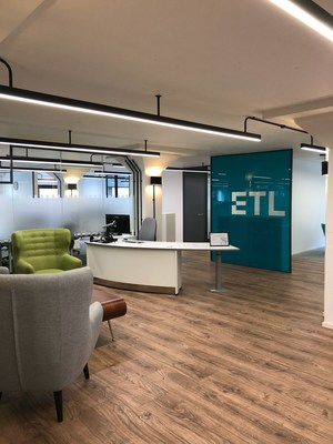 Pictured above, featuring the new branding, is ETL's London office.