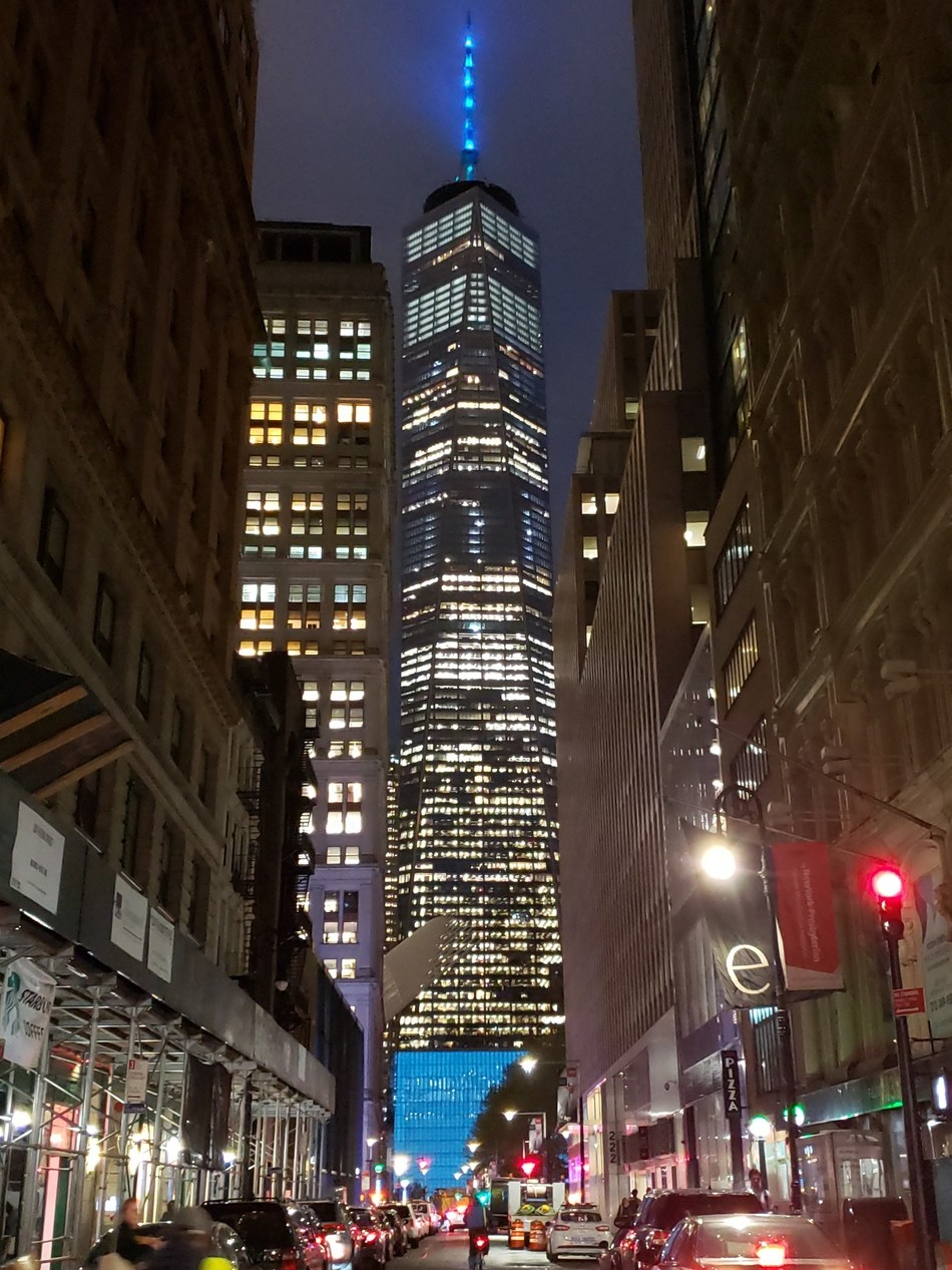 One World Trade Center is illuminated turquoise for lung cancer awareness during the American Lung Association's turquoise takeover and National Women's Lung Health Week.