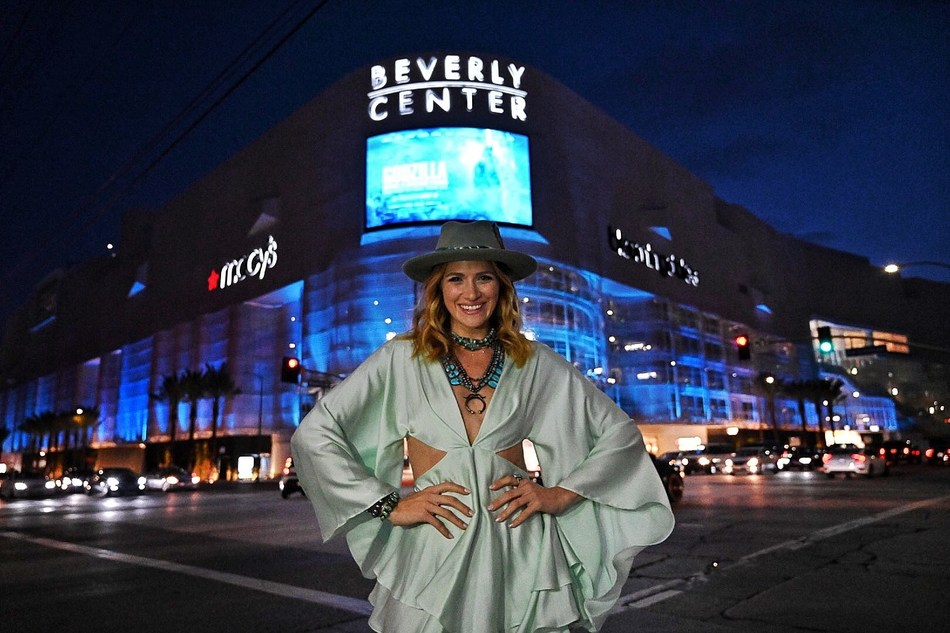 During the American Lung Association's turquoise takeover, Beverly Center is illuminated turquoise for lung cancer awareness during National Women's Lung Health Week, featuring LUNG FORCE advocate Shantel VanSanten.