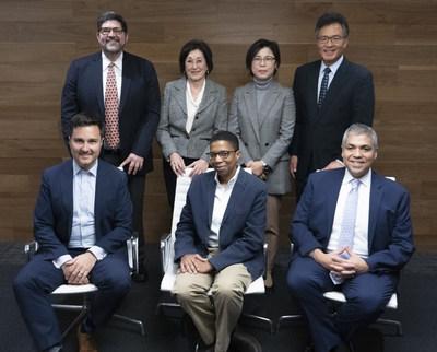 Panasonic Foundation Advisory Board. Top row left to right: Andres Alonso, Patricia Gandara, Megan Lee, Milton ChenSeated left to right: Jeff Werner, Ainissa G. Ramirez, Juan Otero